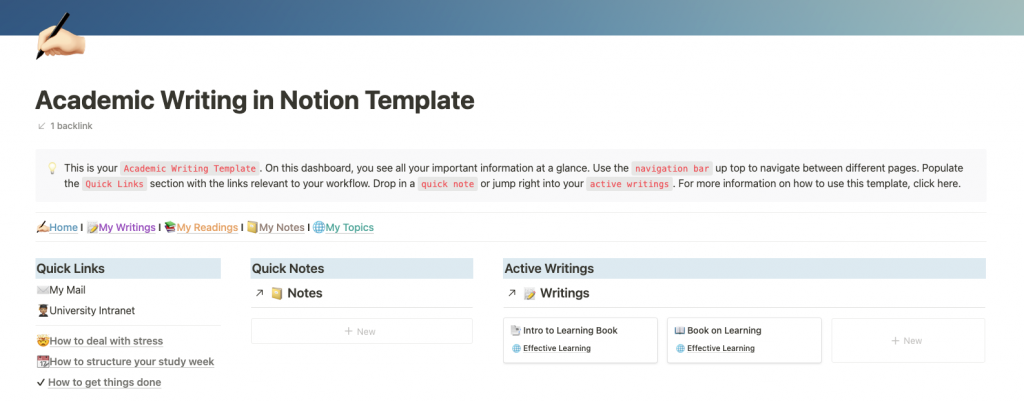 Write your thesis in Notion